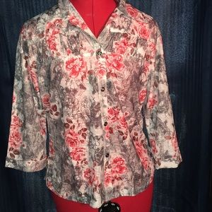 Sheer grey blouse with 3/4 sleeves size small